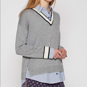 Joie Belva V-Neck Pullover Sweater, Gray Large NWT